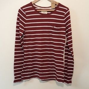 Hollister Burgandy White Stripe Long Sleeve Tee